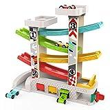 TOP BRIGHT Kugelbahn Autos Holz ab 1 Jahr, Auto Rennbahn Holz Spielzeug, Holz Kinderspielzeug 1 2 Jahre Jungen