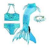 Guter Handwerker Mädchen Meerjungfrauenschwanz zum Schwimmen,Mermaid Tail, für Mädchen, Jungen, Kinder und Erwachsene Monofin Girlande INKLUSIVE (Blauer Engel, 150)