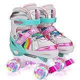 Sumeber Verstellbar Rollschuhe für Kinder,mit Leuchtenden Rädern Roller Skates Bequem und atmungsaktiv Quad Skates für Mädchen Rosa (M(35-38))