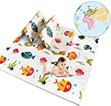 Baby Spielteppich Kinder Spielmatte Beidseitige Krabbelmatte Krabbeldecke Spieldecke Doppelseiten spielbar gym yoga matte 200 x 180 cm (1,5 CM)