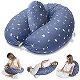 Bamibi ® Stillkissen Seitenschläferkissen Schwangerschaftskissen zum Schlafen Lagerungskissen mit Bezug aus 100% Baumwolle (Sterne)