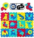 Hakuna Matte Puzzlematte für Babys – TÜV SÜD GS Zertifiziert – 12 Fliesen mit Tieren in einem Verpackungskarton – 20% dickere Spielmatte – 4 Oberflächentypen – 1,2x0,9m, Vergleichssieger 2018*