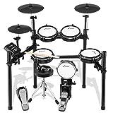 Donner Schlagzeug Elektronisch DED-200, E Drums mit 8 Teiligem Mesh Head, Trommelthron, Sticks, Kopfhörer und Audiokabel Inklusive, Stabileres Eisen-Metall-Trägerset