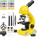 Mikroskop für Kinder, Dual Light Microscope Science Kit für Anfänger Pädagogisches STEM-Spielzeug mit 80X-1200X Vergrößerung