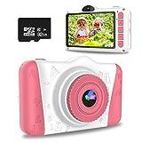 WOWGO KinderKamera, 3,5 Zoll Digital Kamera Spielzeug USB Wiederaufladbarer Selfie Videokamera mit 12 Megapixel/1080P HD/Dual Lens/32GB TF Karte/Stickers, Geschenk für Kinder