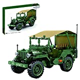 XIAN Baustein Auto Modell, WW2 Military Pickup Truck Auto Pull Back Military Fahrzeug Bausatz, 807 Klemmbausteine Kompatibel mit Lego Technologie (705805)