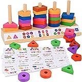 Holzspielzeug,GOLDGE Holz Pädagogisches Spielzeug Stapelspielzeug Holz Sortier Spielzeug Steckspielzeug lernspielzeug Montessori Geometrische Tafel Geschenk für Junge Mädchen