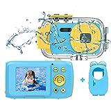 Kinderkamera Wasserdichte Kamera HD 1080P Unterwasserkamera Videokamera für Kinder Kinder Digitalkameras Mit 2,0 Zoll IPS HD-Bildschirm Blau