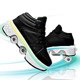 HealHeatersⓇ Schuhe Mit Rollen 2 in 1 Multifunktionale 4 Rad Rollschuhe Verformung Schuhe 7-Farbwechsel Lichtleiste Verstellbare USB Wiederaufladbar Für Männer Frauen,Schwarz,40
