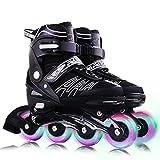 VOMI Verstellbar Inline-Skates mit 8 Blinkende Räder Kinder/Erwachsene Sporting Inline Schuhe Einstellbare 4 Größe Inlineskates Aluminiumlegierung Halterung ABEC-7 Stumm Lager (Maximum 41-44,Black)