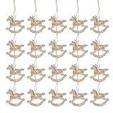 LIXBD 20 Stück hängende Holz-Weihnachtsbaum-Dekorationen Ornamente Mini-Holz-Schaukelpferd Vintage Weihnachten Hochzeit Dekoration Geschenkanhänger Holzscheiben für (Farbe: Holz)