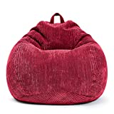 Green Bean © Scoop Indoor Sitzsack 90 x 110 cm - EPS-Perlen Kügelchen Füllung - Cord - kuschelig, weich, robust - waschbar - Beanbag, Lounge Chair, Liege - Rot