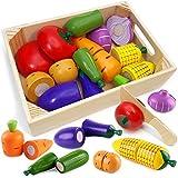 Airlab Küchenspielzeug für Kinder aus Holz, Kinderküche Zubehör, Schneiden Obst Gemüse Lebensmittel Holz mit Klett-Verbindung, Küche Spielzeug Lernspielzeug Geschenk für Kinder