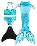 Wishliker Kinder Mädchen Meerjungfrauen Schwanz mit Meerjungfrau Flosse zum Schwimmen 4 Stück Set