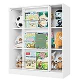 Kinderregal weiß, Regal mit Schiebetür, Kommde Schrank Sideboard Bücherregal für Kinder Spanplatt 105x37x90cm