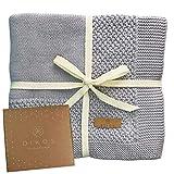 Babydecke Baumwolle grau | 100% GOTs BIO Neugeborenen Decke | leichte atmungsaktive Baby Sommerdecke mit Bordüre für Mädchen/Jungen | dünne Strickdecke Baumwolldecke | Geschenk zur Geburt nachhaltig