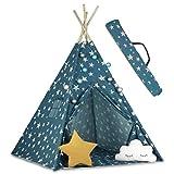 Ricokids Tipi Zelt Spielzelt Indianer Baumwolle Kinderzelt Lichterkette Tragetasche mit 2 Kissen 740101 Blau