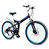 Xiaoyue Erwachsene Falträder, High-Carbon Stahl Doppelscheibenbremse Folding Mountain Bike, Doppelaufhebung faltbares Fahrrad, tragbare Pendler Fahrrad, Rot, 24' 27 Geschwindigkeit lalay