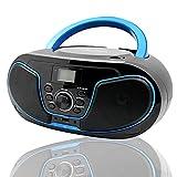 LONPOO CD Player Tragbar Radio Boombox mit Bluetooth, UKW-Radio, USB Eingang & AUX & Kopfhörern Ports, 2 x 2Watt RMS Stereoanlage, für Erwachsene Kinder Studenten