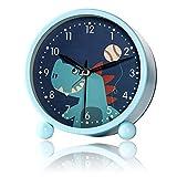 Desivel Kinderwecker-Ohne Ticken Kinder Wecker-Blau Analog Wecker-mit Nachtlicht Wecker-für Junge Mädchen und Schüler (Blau)
