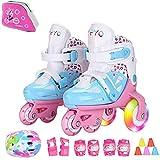 Sumeber Inline Kinder Skates Tri-Linie mit veränderbarer Länge Kid Jungen Mädchen Rollschuhe Outdoor/Indoor (Blau, XS(27-30))