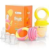 NatureBond Fruchtsauger Baby/Schnuller in appetitanregenden Farben (2 Stück) - Fruchtsauger Baby ab 3 Monate und Kleinkind - Beißring für Obst Gemüse Brei, BPA frei, 6 Silikon Sauger in 3 Größen