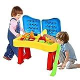 RELAX4LIFE 2 in 1 Sandspieltisch & Wasserspieltisch, Kinderspieltisch mit klappbarem Deckel, Sandkastentisch mit 31 tlg Zubehör, Spieltisch für Kinder ab 3 Jahren, Spielzeug für Outdoor & Indoor, bunt