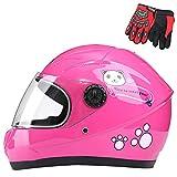 ZJRA Kinderhelm, Motorradhelm Für Kinder, Motorrad Halbhelme, Motorrad Moped Jungen Mädchen Kinder Childs, 3 Farben Style Für Wahl,Rosa