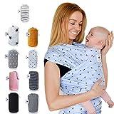 Fastique Kids® Tragetuch - elastisches Babytragetuch für Früh- und Neugeborene inkl. Baby Wrap Carrier Anleitung - Nordlicht