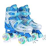 GVDV Rollschuhe Kinder Verstellbar - LED Roller Skates Beleuchtete für Jungen und Jugendliche, Quad Rollerskates Kompletter Schutz für Anfänger, Blau S