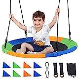 Runprism Nestschaukel Schaukel, belastbar hängender Baumschaukelsitz, Hängematte mit längenverstellbarem Seil für Kindernestseilaufhängung Φ100cm