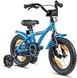 Prometheus Kinderfahrrad 14 Zoll Jungen mit Stützräder ab 3-4 Jahre Mädchen Rücktritt 14zoll BMX Modell 2021 in Blau Schwarz