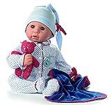 Götz 1161034 Cookie Blue Spots Puppe - 48 cm große Babypuppe mit braunen Schlafaugen, ohne Haare und einem Weichkörper - 7-teiliges Set