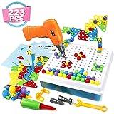 Mosaik Steckspiel 3D Puzzle Kinder Bausteine mit Drillen Pädagogisches Spielzeug STEM Geschenk für Kinder Junge Mädchen 3 4 5 Jahre Alt, 223 Stück (MEHRWEG)