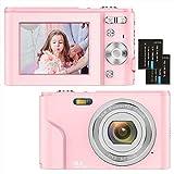 Digitalkamera 1080P HD Kompaktkamera 36 Megapixel Mini-Videokamera 2,4' LCD Digitalkamera wiederaufladbare Fotokamera mit 16X Digitalzoom für Studenten/Erwachsene/Kinder/Anfänger (Rosa)