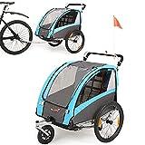 Fiximaster 2 in 1 Kinder-Fahrradanhänger, 360° drehbar, MUL-tifunktions-Kinderwagen, Baby-Buggy, Transportwagen mit Handbremse und Federung (blau BT504)
