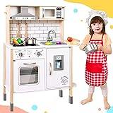 Tiny Land Kinderküche für Kinder mit 18 Spielzeug Nahrungs- und Kochgeschirr Zubehör Kinderküche Holz Koch Pretend-Spielset für Kleinkinder mit echtem Licht und Geräuschen