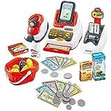 deAO Spielset- Supermarktkasse mit Scanner, Kreditkarte, Spielzeuglebensmittel, Spielgeld und Einkaufskorb