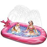 Weokeey Splash Pool, Narwal Sprinkler Pool Planschbecken für Kinder Sprinkler Matte Splash Pad Outdoor Spielzeug Wasserspielzeug Pool für Kinder Kleinkind 3-12 Jahre Alt, 69*49*8 inch