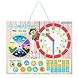 Navaris Lernuhr für Kinder magnetisch - Uhrzeit lernen - Magnet Lerntafel ab 3 Jahren - Spielzeug Uhr - Lernspielzeug 49 Magneten - Beige - Englisch