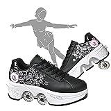 ABSOLU Pulley Ice Skates,multifunktionale Verformung Rolle Schuhe Unsichtbare 4-Rad-Rollschuhe Skate Roller Skating Kinder Outdoor-Sport Für Erwachsene Unisex