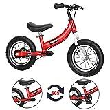 Qiani Laufrad 2 in 1, für Kleinkinder,Kinder 2 3 4 5 6 7 Jahren, 12 14 16 Zoll Kinderfahrrad,mit Laufrädern,Bremsen,Pedal-Kit (rot, 14 Zoll)