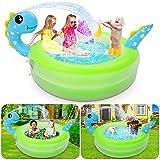 Otes aufblasbarer Pool, Sprinklerspielzeug für Dinosaurierpools, 156 × 41cm, langlebiger aufblasbarer PVC-Pool, Faltbarer Familienpool, Sommer-Wasserparty im Garten für Kinder
