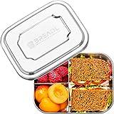 BREADL® Edelstahl Brotdose 1000ml, Spülmaschinenfest, BPA-frei, Trennwand und 3 Fächer, Lunchbox & Bento-Box für Kinder & Erwachsene für Schule, Arbeit, Uni, Wandern