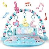 Baby Activity Spielmatte, Kick & Play Piano Gym Center mit Musik und Licht, elektrisches Lern-Dschungel-Gym mit Rasseln und Stofftieren für Neugeborene, Mädchen und Jungen ab 0 Jahren