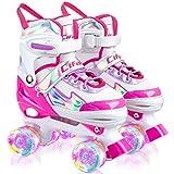 AILUKI Rollschuhe für Kinder,Verstellbar Roller Skates für Anfänger,mit Leuchtenden Rädern Bequem und atmungsaktiv Quad Skates für Mädchen Jungen, Jugendliche Größenverstellbare (Größe 31-42)