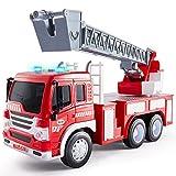 HERSITY Feuerwehr Spielzeug mit Drehleiter, Feuerwehrauto mit Sound und Licht Spielzeugauto Geschenk für Kinder Jungen 3 4 5 Jahre, 1:16 Fahrzeuge Kinderspielzeug Groß