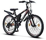 Licorne Bike Guide Premium Mountainbike in 24 Zoll - Fahrrad für Mädchen, Jungen, Herren und Damen - 21 Gang-Schaltung - Schwarz/Rot/Grau