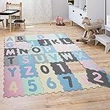 Puzzlematte Spielmatte Schaumstoffmatte Baby Kinder Matte Zahlen Buchstaben Pastell 36 Teile, Grösse:32x32 cm x 36 STK, Farbe:Mehrfarbig