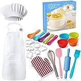 Nifogo Kochset Kinder, Chef Set Kinder Schürzen, 30PCS Schürze mit Kochmütze Topfhandschuhe Topflappen Ausstechform Als Kinderküche Geschenk (30PCS)